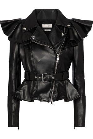 Alexander McQueen Frilled leather jacket