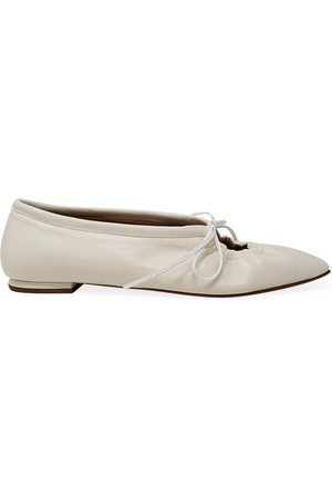 Madison Maison By Sergio Amaranti Off Leather Pointy Lace up Ballerina