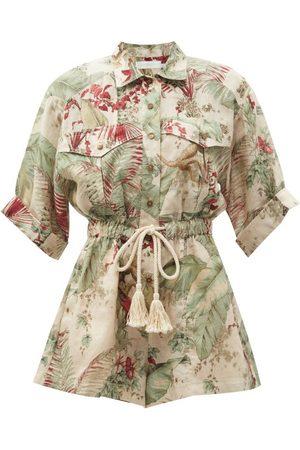 ZIMMERMANN Cassia Jungle-print Drawstring Linen Playsuit - Womens - Multi