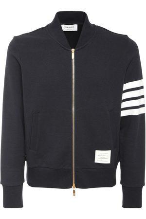 Thom Browne Men Bomber Jackets - 4 Bar Zip Cotton Jersey Bomber Jacket