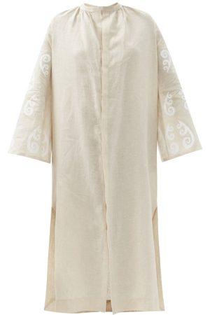Themis Z Women Casual Dresses - Peacock Linen Shirt Dress - Womens