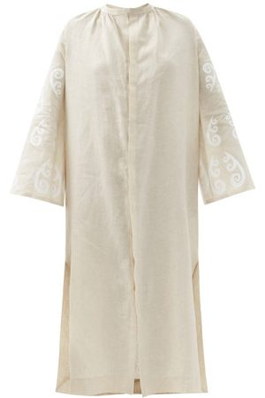 Themis Z Women Casual Dresses - Peacock-print Linen Shirt Dress - Womens