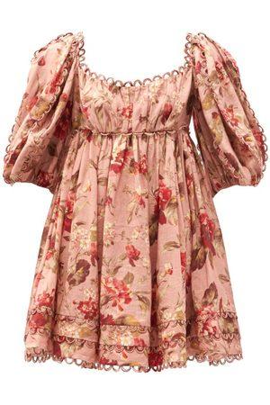 ZIMMERMANN Cassia Puff-sleeve Floral-print Voile Mini Dress - Womens - Print