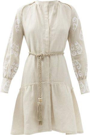 Themis Z Peacock-print Belted Linen Mini Dress - Womens