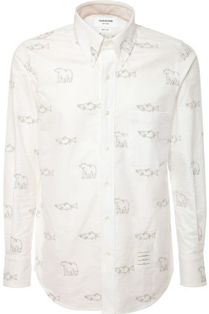 Thom Browne All Over Embroidered Cotton Oxford Shirt
