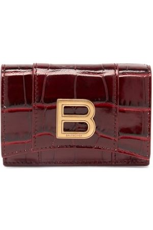 Balenciaga Hourglass Xs Crocodile-effect Leather Wallet - Womens - Burgundy