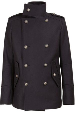 Balmain Men Coats - Wool Blend Military Pea Coat