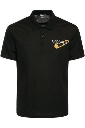 VERSACE Logo Embroidery Jersey Piquet Polo