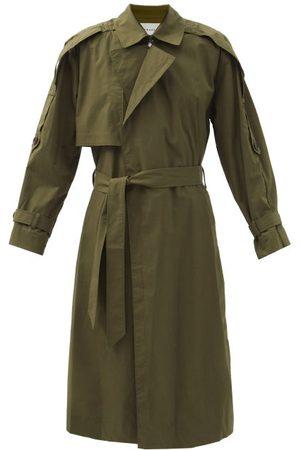 Frame Women Trench Coats - Oversized Cotton-blend Poplin Trench Coat - Womens - Khaki