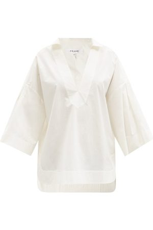 Frame Women Blouses - Channing V-neck Cotton-poplin Blouse - Womens