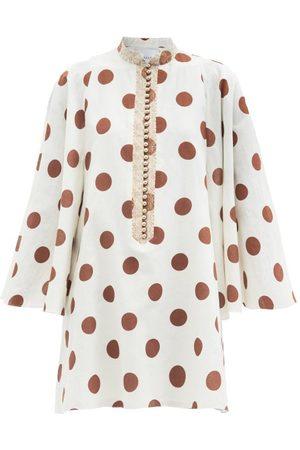 HALPERN Women Party Dresses - Polka-dot Linen-blend Poplin Mini Dress - Womens