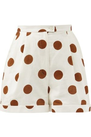 HALPERN Women Shorts - High-rise Polka-dot Linen-blend Shorts - Womens