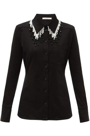 Christopher Kane Beaded Organic-cotton Jersey Shirt - Womens