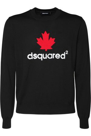 Dsquared2 Leaf Intarsia Wool Knit Sweater