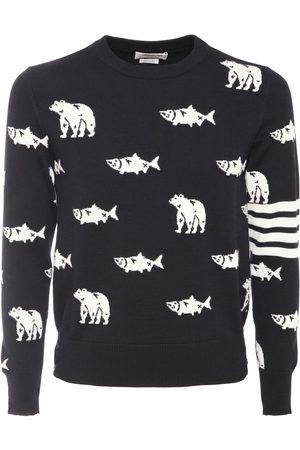 Thom Browne Bear & Salmon Merino Wool Knit Sweater