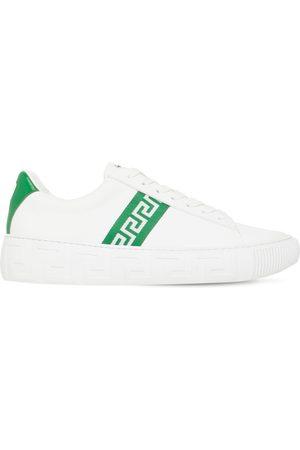 VERSACE Greek Motif Leather Sneakers