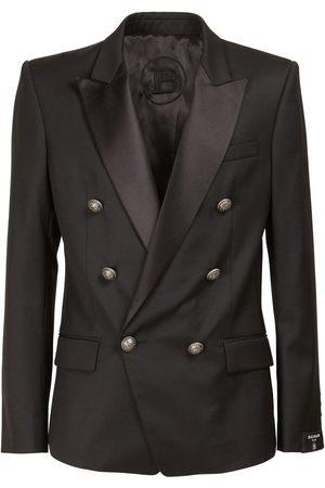 Balmain Collection Fit Wool Blazer W/ Satin