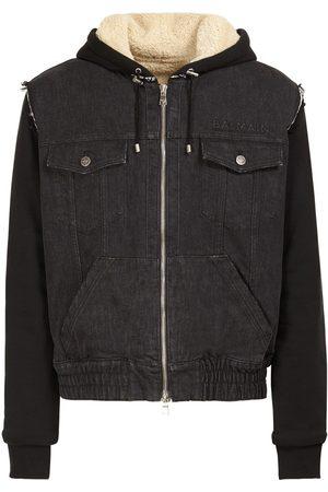 Balmain Logo Embossed Cotton Denim Jersey Jacket