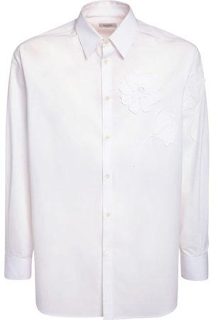 VALENTINO Embroidered Flower Cotton Poplin Shirt
