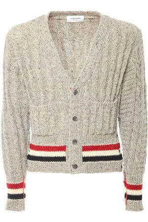 Thom Browne Wool Cable Knit Cardigan W/ Rwb Stripe