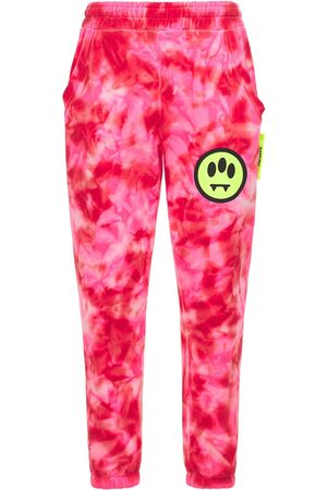 BARROW Logo Printed Tie Dye Cotton Sweatpants