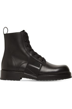 VALENTINO GARAVANI Leather Combat Boot W/ Vltn Logo Band