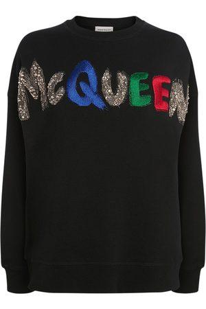 Alexander McQueen Women Sweatshirts - Jersey Embroidered Logo Sweatshirt