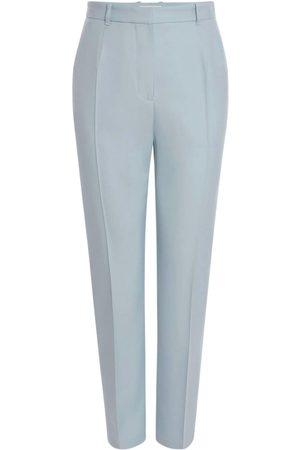 Alexander McQueen High Waist Fluid Wool Straight Leg Pants
