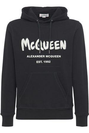 Alexander McQueen Graffiti Print Cotton Sweatshirt Hoodie