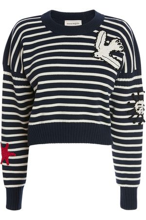 Alexander McQueen Wool & Cotton Knit Crewneck Sweater