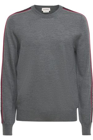 Alexander McQueen Logo Tape Crewneck Wool Sweater
