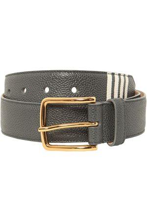 Thom Browne 35mm Pebble Grain Leather Belt W/ 4 Bar