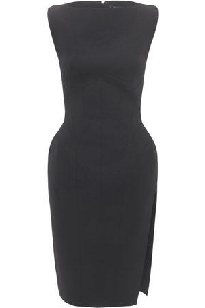 MUGLER Crepe Structured Midi Dress