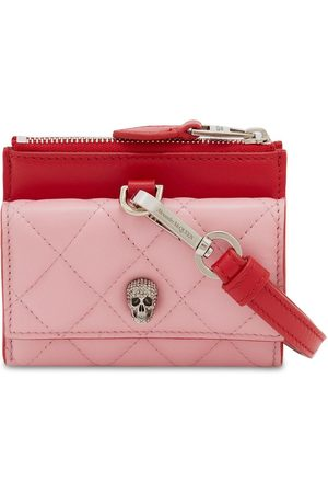 Alexander McQueen Quilted Pave Skull Card Holder W/strap