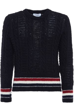 Thom Browne Cable Stitch Wool & Mohair Knit Sweater