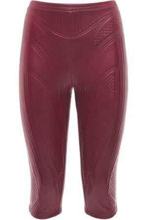 MUGLER Embossed Shiny Jersey Biker Pants