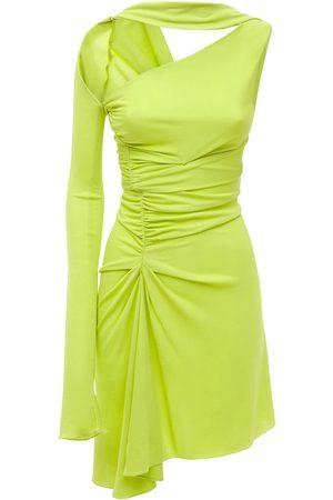 MUGLER One Sleeve Crepe Jersey Mini Dress