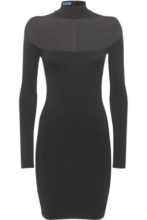 MUGLER Fitted Viscose Blend Knit Dress
