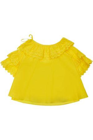 TIA CIBANI Aida Ruffle Collar Poplin Cotton Shirt