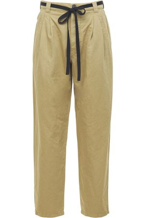 Loewe Men Pants - Paula Pleated Linen & Cotton Pants