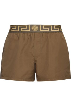 VERSACE Men Swim Shorts - Logo Waistband Nylon Swim Shorts