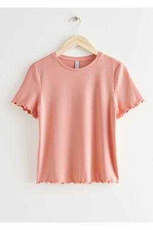 & OTHER STORIES Women T-shirts - Frilled Crewneck Rib T-Shirt