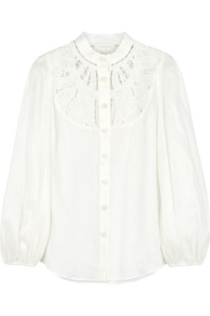 ZIMMERMANN Women Blouses - Cassia floral-embroidered linen blouse