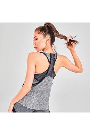 Under Armour Women's Knockout Mesh Back Training Tank Top in Grey/Jet Grey Light Heather Size X-Small 100% Polyester