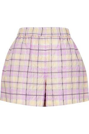 Ganni Women Shorts - Checked seersucker shorts