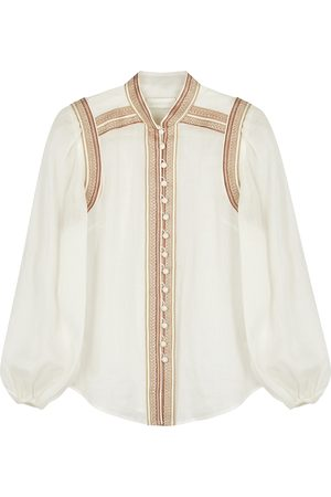 ZIMMERMANN Women Blouses - Cassia embroidered ramie blouse