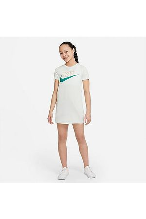 Nike Girls' Sportswear Futura T-Shirt Dress in White/Barely Size X-Small 100% Cotton