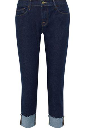 Frame Woman Le Garcon Crop Frayed Boyfriend Jeans Dark Denim Size 23