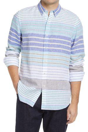 Bugatchi Men's Shaped Fit Stripe Stretch Performance Button-Down Shirt