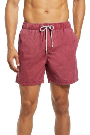 Vintage Summer Men's Solid Washed Nylon Swim Trunks